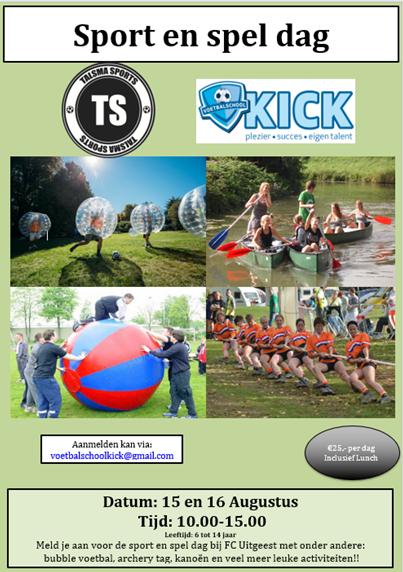 Sport en Spel dag in de zomervakantie bij FC Uitgeest