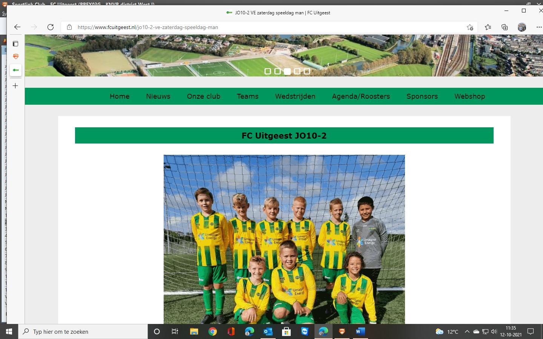 Staat  er al een teamfoto van jullie team (in het nieuwe tenue) op de website?